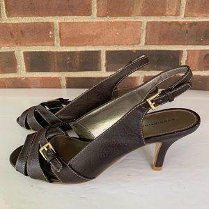 Predictions peep toe sling back sandals